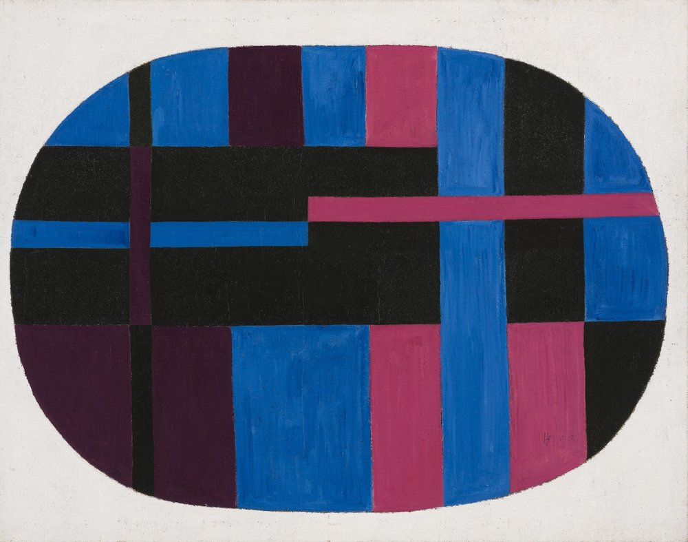 Carmen Herrera, Untitled, 1948. Acrylic on burlap, 48 x 38 in. (121.9 x 96.5 cm). Collection of Yolanda Santos © Carmen Herrera