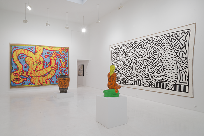 Installation view, Keith Haring, Bombs and Dogs, 2015, Jeffrey Deitch, 76 Grand Street, New York, NY, Keith Haring artwork © Keith Haring Foundation, Photo: Adam Reich