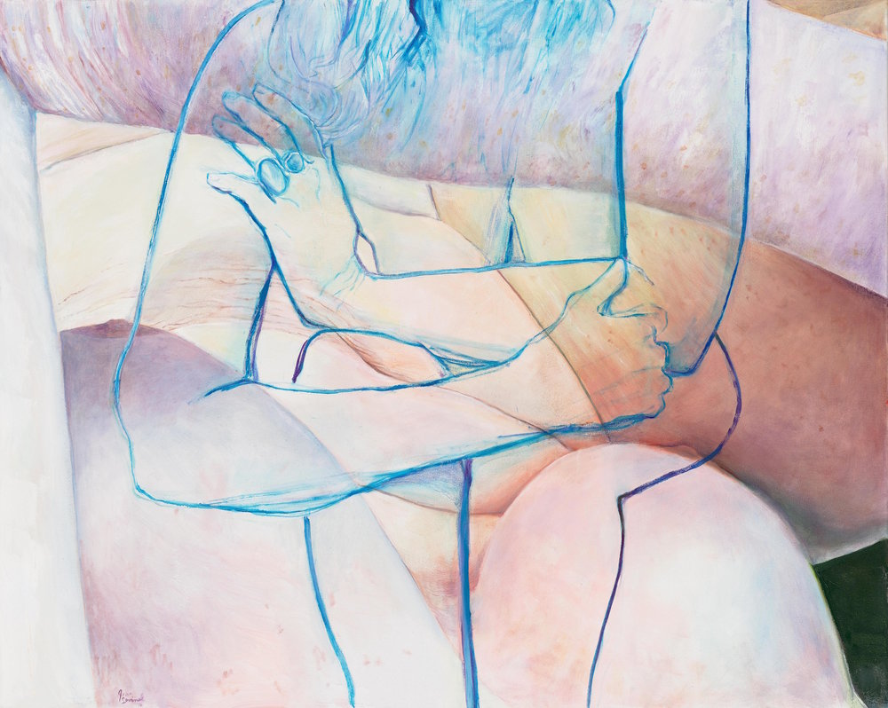 Joan Semmel, Blue Embrace, 2016, Oil on canvas, 60 x 48 in, (152.4h x 121.92w cm) Courtesy Alexander Gray Associates, New York © 2016 Joan Semmel/Artists Rights Society (ARS), New York