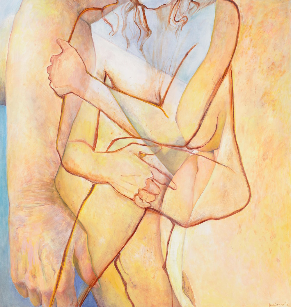 Joan Semmel, Double Embrace, 2016, Oil on canvas, 72 x 68 in, (182.88h x 172.72w cm) Courtesy Alexander Gray Associates, New York © 2016 Joan Semmel/Artists Rights Society (ARS), New York