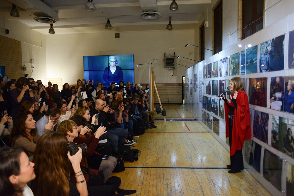 Gloria Steinem at WOMEN: New Portraits, commissioned by UBS. The former Bayview Correctional Facility, the future home of The Women's Building, 18 November – 11 December 2016 © Casey Kelbaugh