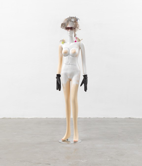 Isa Genzken, Shauspieler, 2013; Mixed media, 72 ¼ x 18 ½ x 10 ½ in.