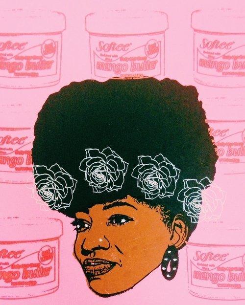 """Angela Pilgrim, """"Afro Puff ll"""", 2015, print"""