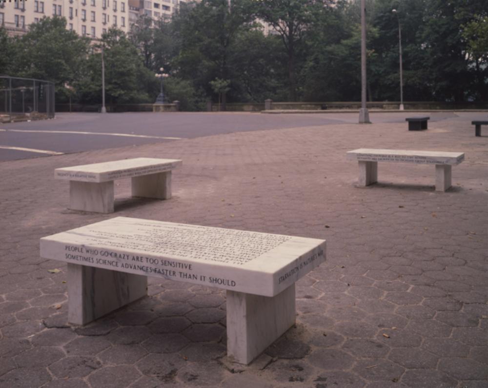 Jenny Holzer, Benches, 1989. Credit: Oren Slor