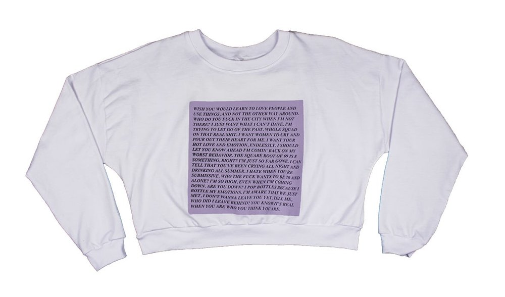 Drizzy Inflammatory Essays.  Credit: Sweatshirt by Art Baby Girl sold at Tictail.