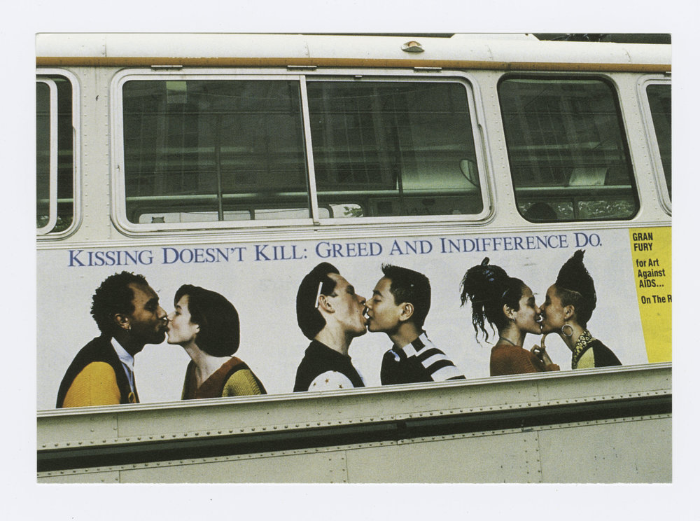 Kissing Doesn't Kill: Greed and Indifference Dobus poster, design by Gran Fury for Art Against AIDS/On The Road and Creative Time, Inc. 1989, Gran Fury, Courtesy The New York Public Library Manuscripts and Archives Division