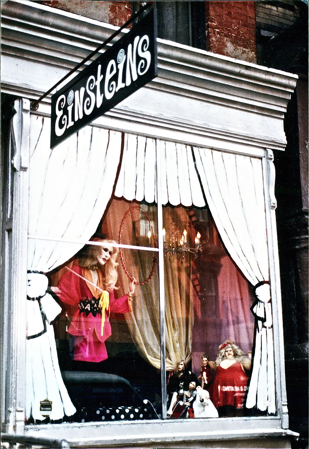 "Einsteins ""Circus"" window display by Greer Lankton and Paul Monroe, dolls and photo by Greer Lankton, 1986. Courtesy Paul Monroe for Greer Lankton Archives Museum"