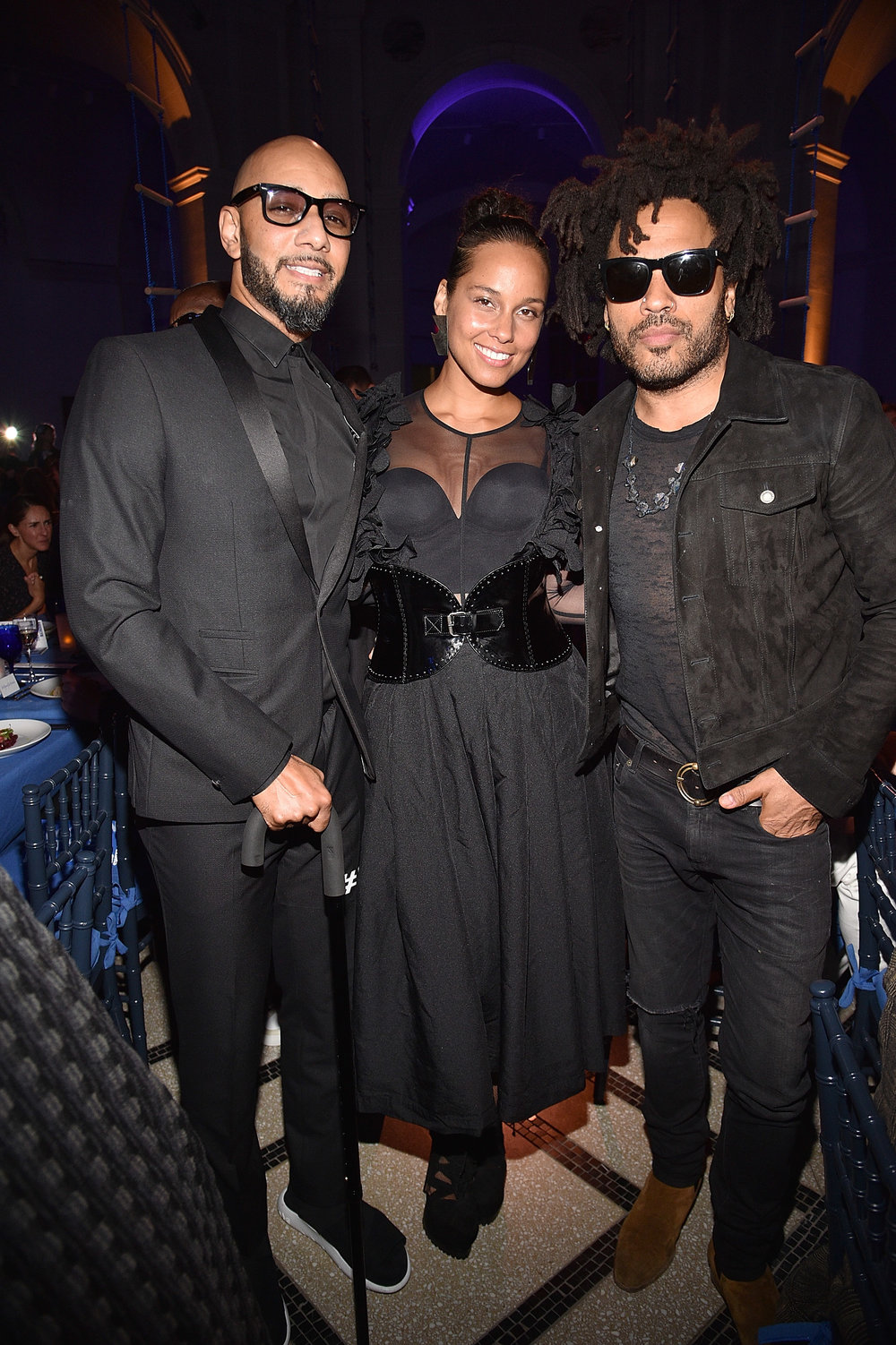 Swizz Beatz, Alicia Keys and Lenny Kravitz (Photo by Kevin Mazur/Getty Images for the Brooklyn Museum)