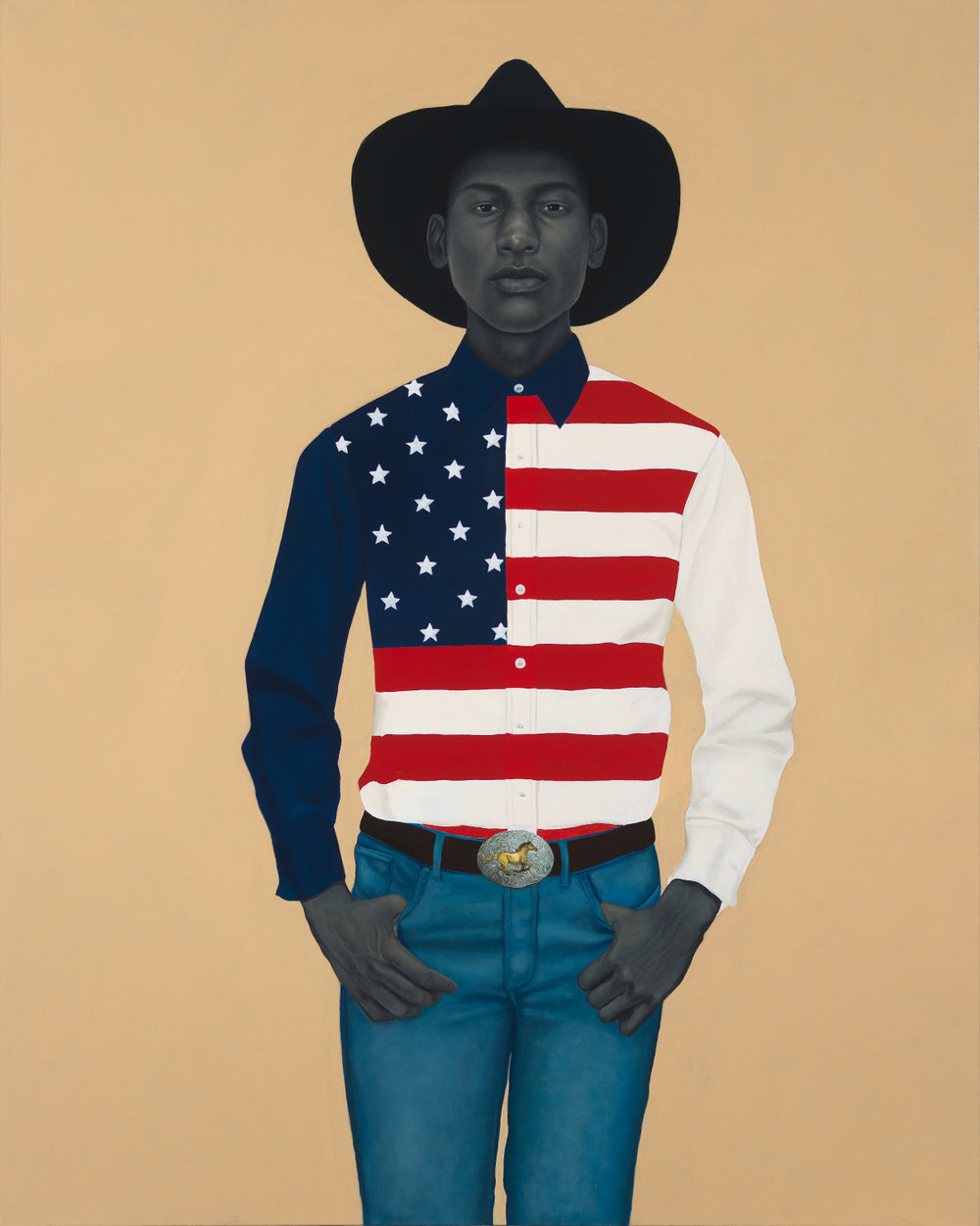Amy Sherald, What's precious inside of him does not care to be known by the mind in ways that diminish its presence (All American), 2017, oil on canvas. 54 x 43 in. (137.2 x 109.2 cm). Private collection, Chicago, IL. Courtesy the artist and Monique Meloche Gallery, Chicago.