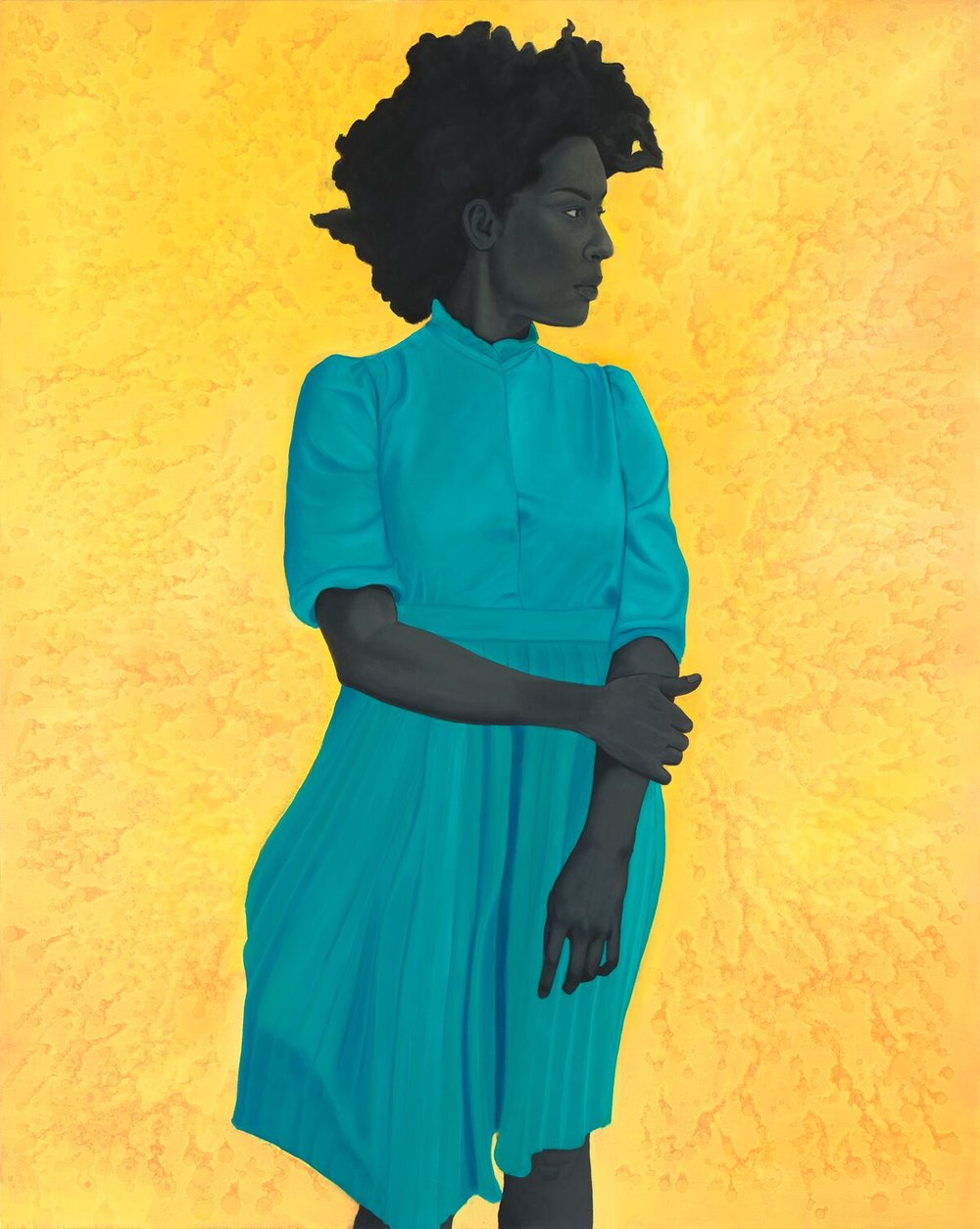Amy Sherald, Saint Woman, 2015, oil on canvas. 54 x 43 in. (137.16 x 109.22 cm). Private collection, Hunts Point, WA. Courtesy the artist and Monique Meloche Gallery, Chicago.