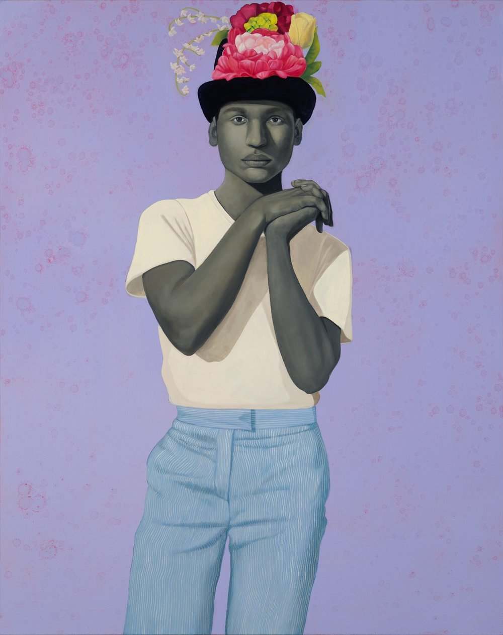 Amy Sherald, Try on dreams until I find the one that fits me. They all fit me., 2017, oil on canvas. 54 x 43 in. (137.2 x 109.2 cm). Public collection, Kemper Museum of Contemporary Art, Kansas City, MO. Courtesy the artist and Monique Meloche Gallery, Chicago.