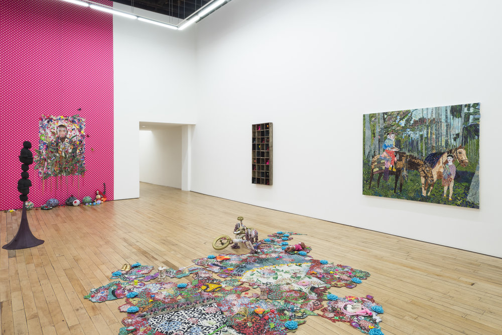 Installation view of 'All That Glitters', work by Ebony G. Patterson, Derek Fordjour, and Maria Berrio. Courtesy of the Rachel Uffner Gallery.