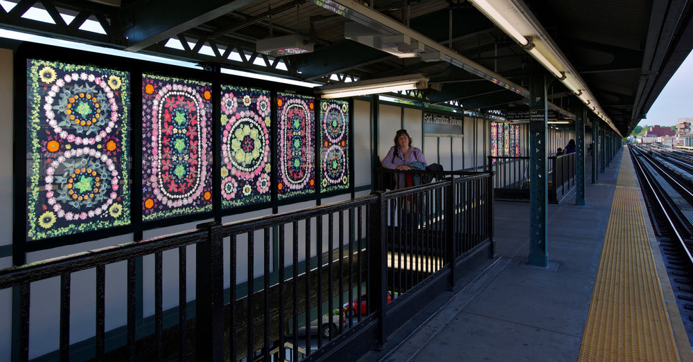 'Hibiscus', NYC MTA Arts for Transit, Fort Hamilton Parkway Station, D Line, Portia Munson. Photo by Susan Alzner.
