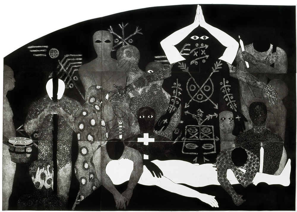 Nlloro , Collograph, 1991, 215 x 300 cm. Collection of the Belkis Ayón Estate. © Estate of Belkis Ayon. Courtesy of Landau Traveling Exhibitions.
