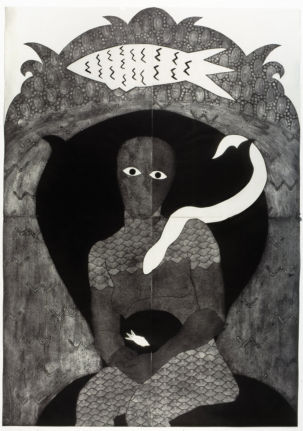 Sikán, Collograph, 1991, 202 x 138 cm. Collection of the Belkis Ayón Estate. © Estate of Belkis Ayon. Courtesy of Landau Traveling Exhibitions.