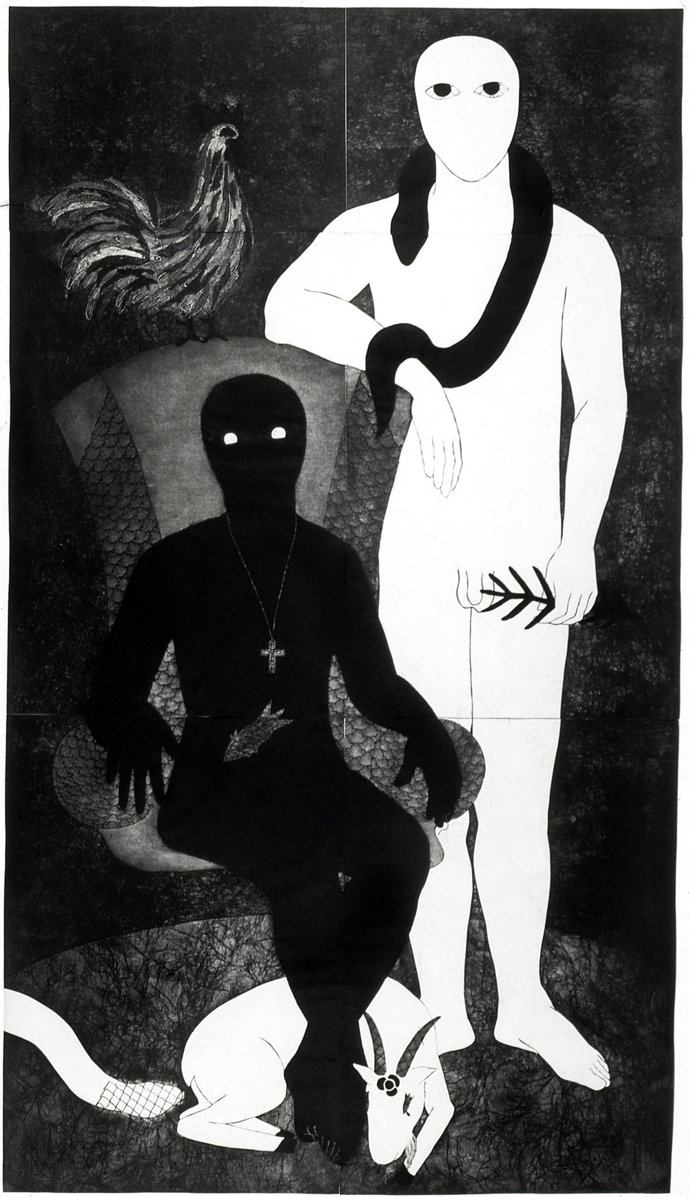 La familia, Collograph, 1991, 250 x 138 cm. Collection of the Belkis Ayón Estate. © Estate of Belkis Ayon. Courtesy of Landau Traveling Exhibitions.
