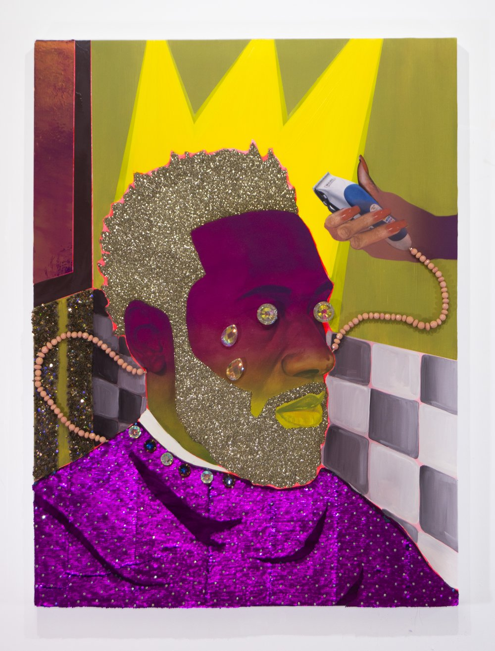 Crowned, 2017, Devan Shimoyama. Courtesy of De Buck Gallery.