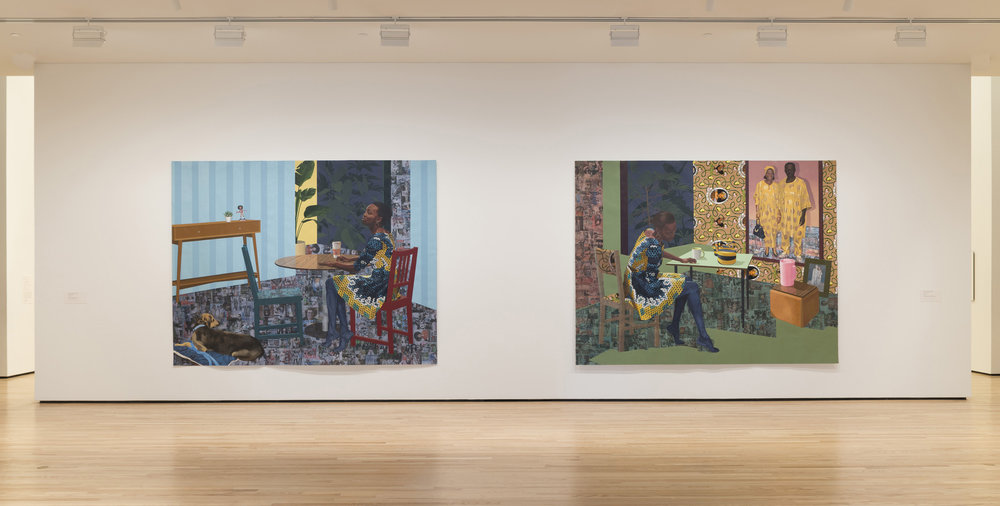 Installation view 1, Front Room: Njideka Akunyili Crosby | Counterparts. Photo by Mitro Hood.