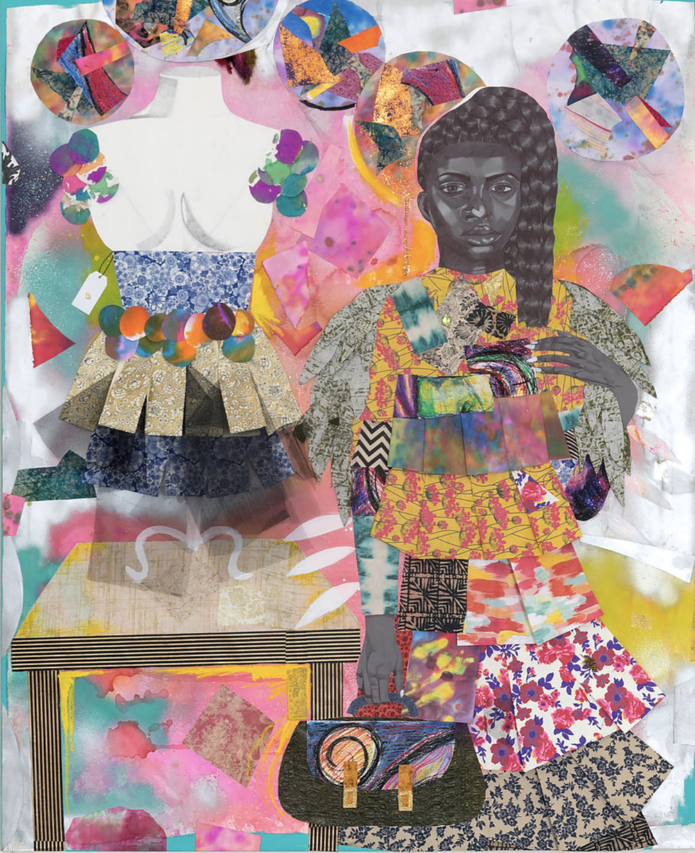 """Girl Standing with Green Alligator Bag Next to Mannequin,"" 2018, 67 x 54 in. Acrylic, spray paint, glitter, ink, tulle and cut paper collage on canvas. Courtesy of Kravets/Wehby Gallery and the artist."