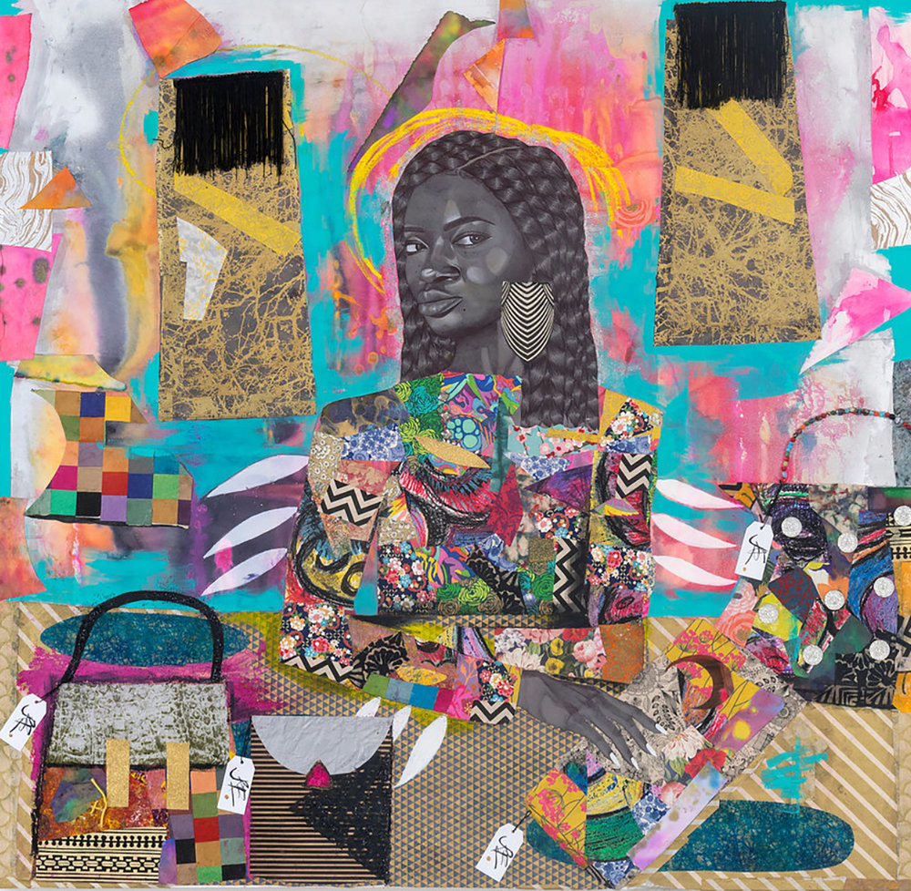 """Bag Lady,"" 2018, 53 x 55 in. Acrylic, spray paint, glitter, ink and cut paper collage on canvas. Courtesy of Kravets/Wehby Gallery and the artist."