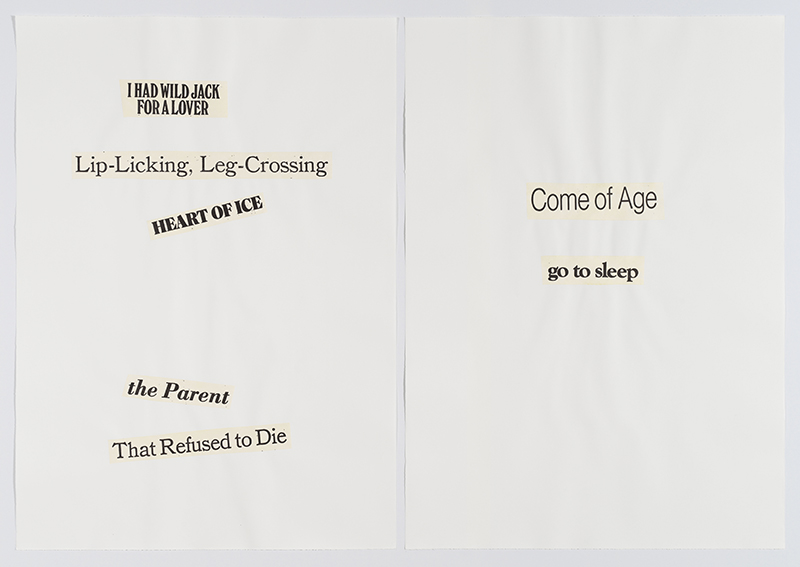 Lorraine O'Grady,  Cutting Out CONYT 13 , 1977/2017, Letterpress printing on Japanese paper, cut-out, collage on laid paper, Diptych, each: 41.75h x 30w in, Overall: 41.75h x 60w in. Courtesy Alexander Gray Associates, New York © Lorraine O'Grady/Artists Rights Society (ARS), New York