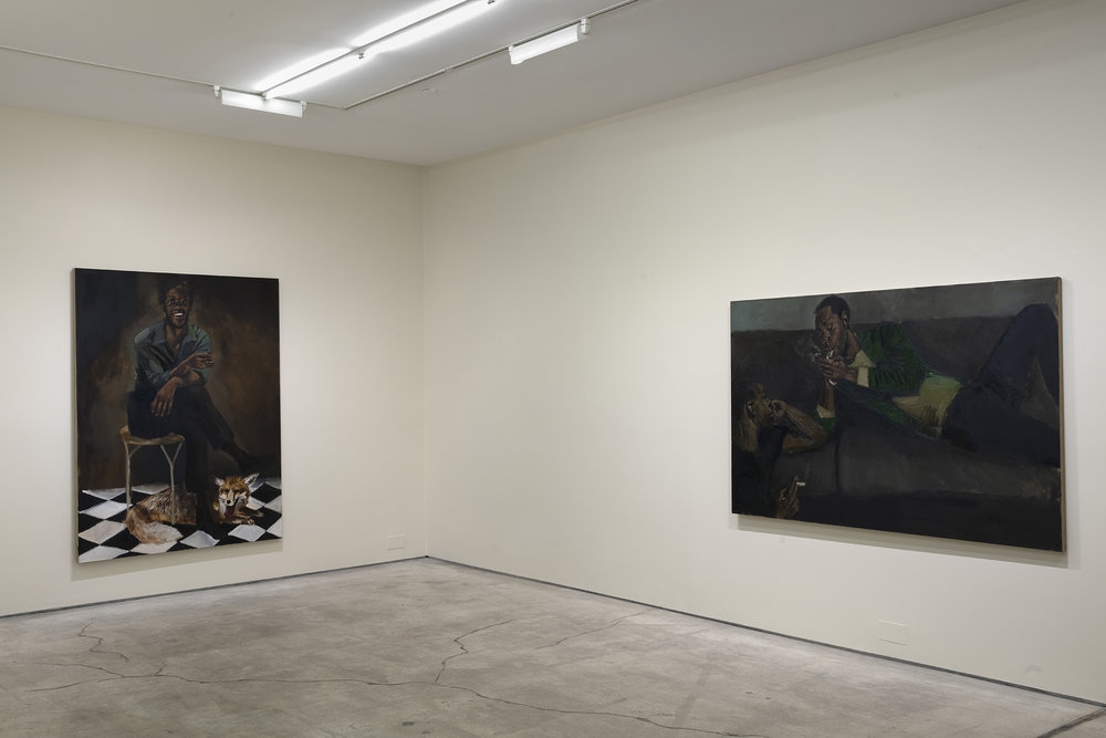 Installation view of Lynette Yiadom-Boakye's In  Lieu of a Louder Love.  Courtesy of the artist and Jack Shainman Gallery.