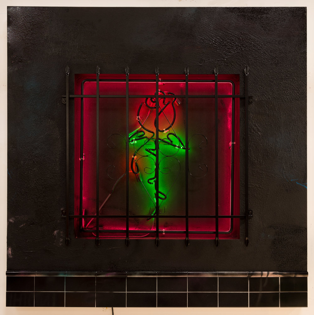 Patrick Martinez, Baby Let Me Take You Home (Night), 2018. Stucco, ceramic tile, latex house paint, neon, and window security bars on panel. Courtesy of the artist and Fort Gansevoort, New York.