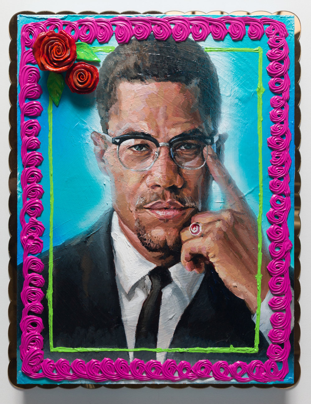 Patrick Martinez, Malcolm X Cake, 2019. Heavy body acrylic, acrylic, airbrush, and ceramic cake roses on panel with gold mirror plex. Courtesy of the artist and Fort Gansevoort, New York.