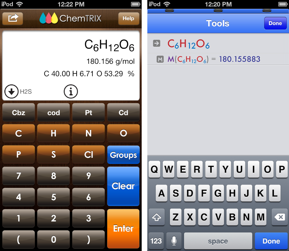 Comparison of chemistry-specific and built-in keyboards in iPhone apps. ChemTrix at left; EleMints at right.