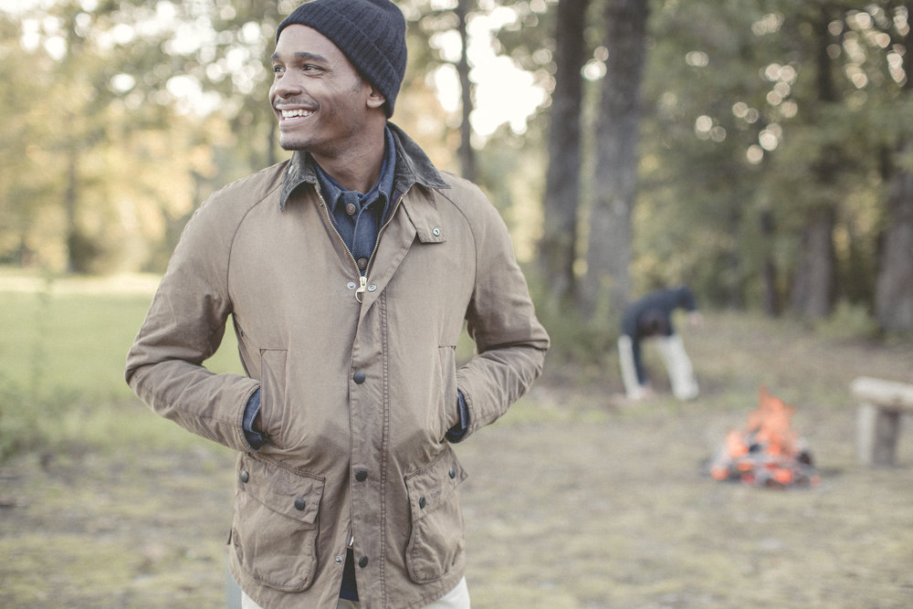 Black male model portrait outdoors