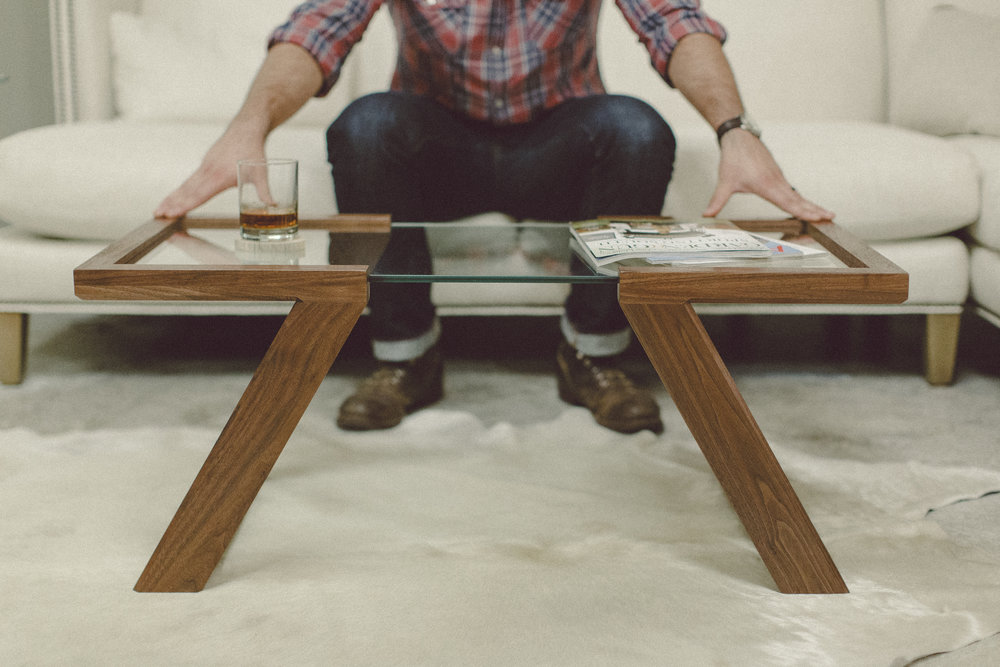 Artisan woodworker with wooden table