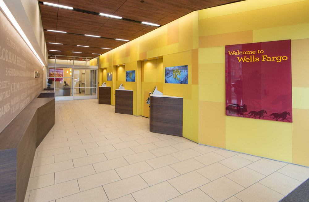 Wells fargo bank interior with  yellow walls