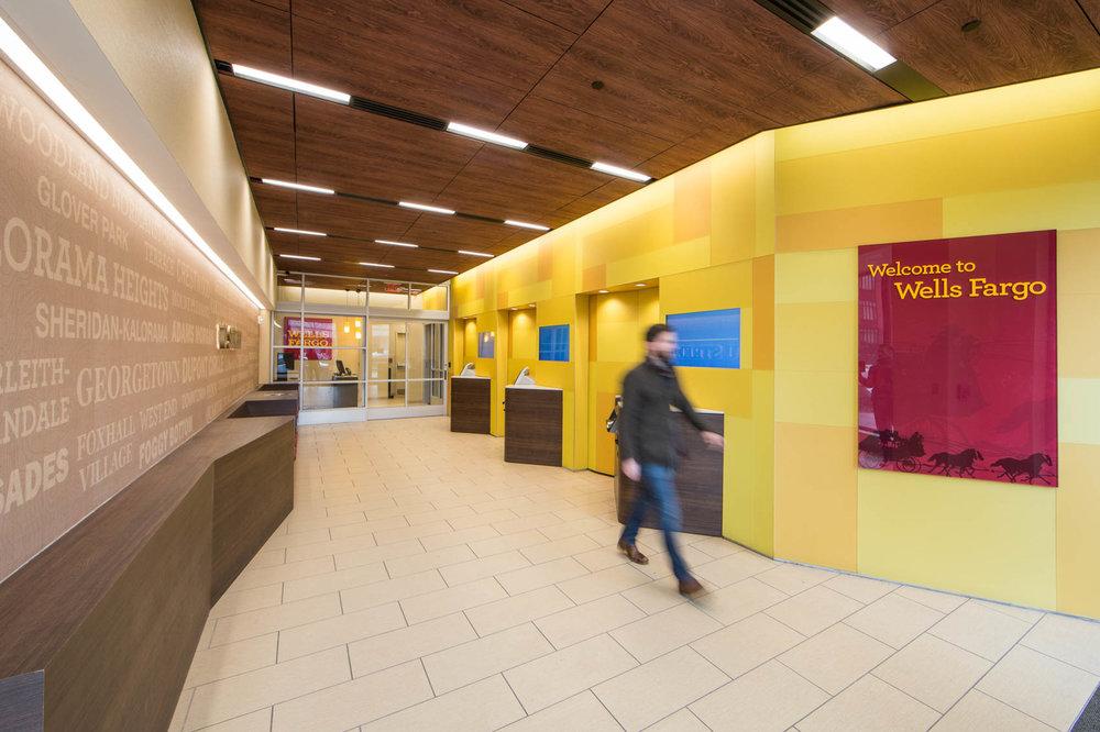 Wells Fargo bank interior in city with pedestrians