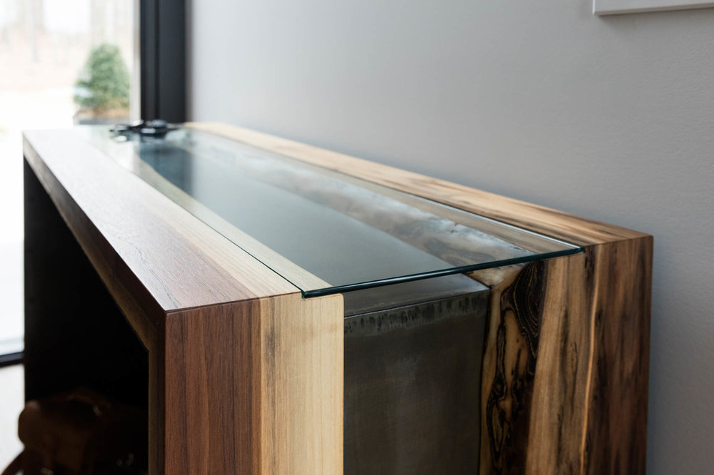 Custom wooden entry table in modern home