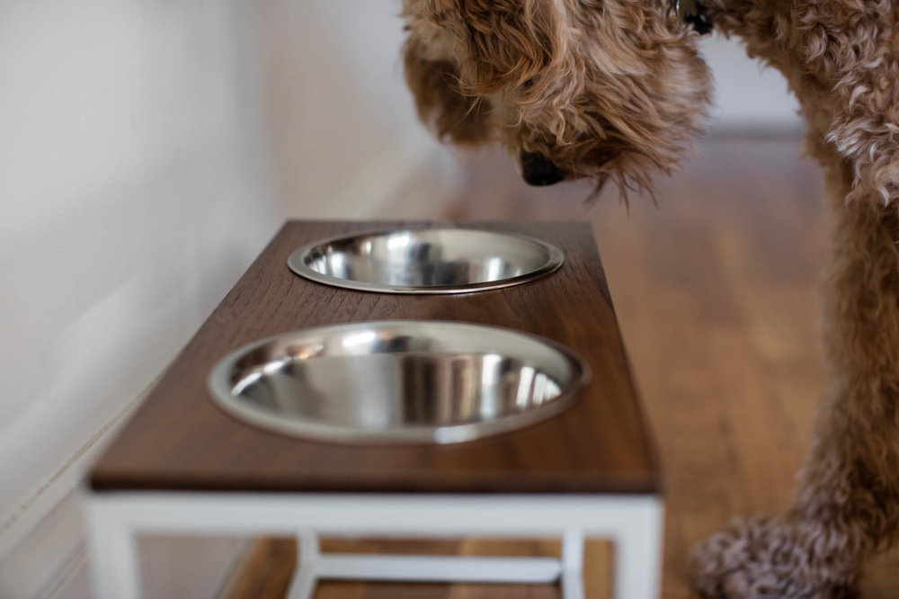 Custom wood dog bowls