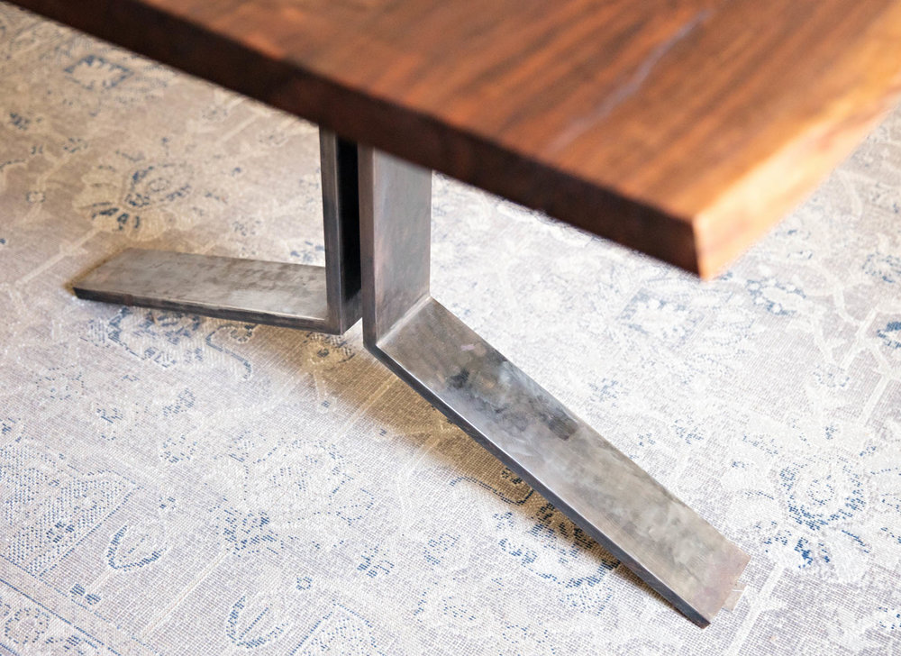 Artisan woodworker custom kitchen table with steel legs