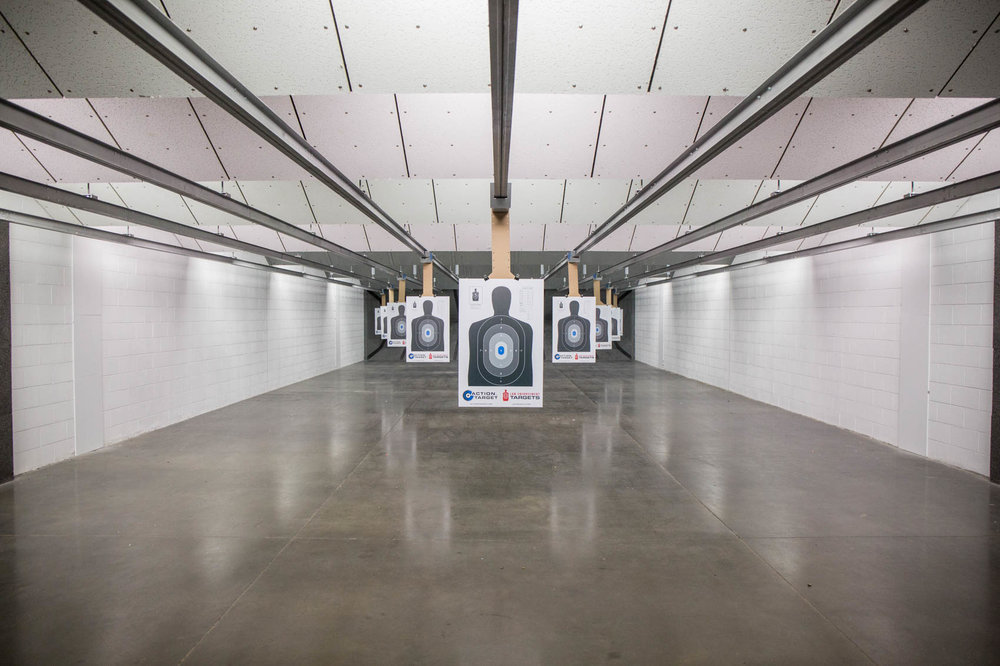 Shooting range lanes with targets