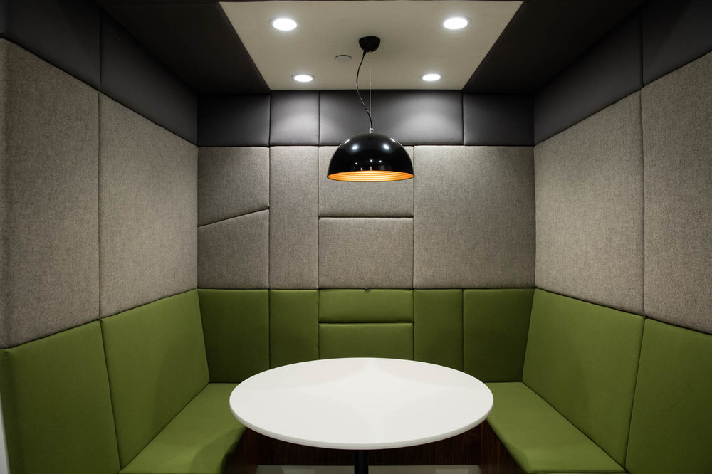 Modern green booth and meeting table