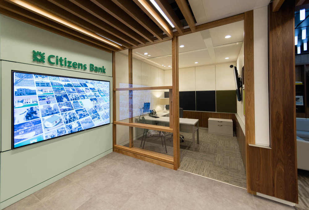 Citizens bank modern interior with office