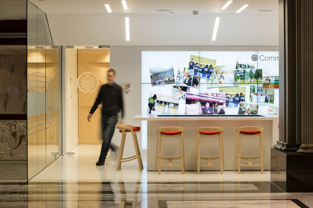 modern interior with blurred man walking