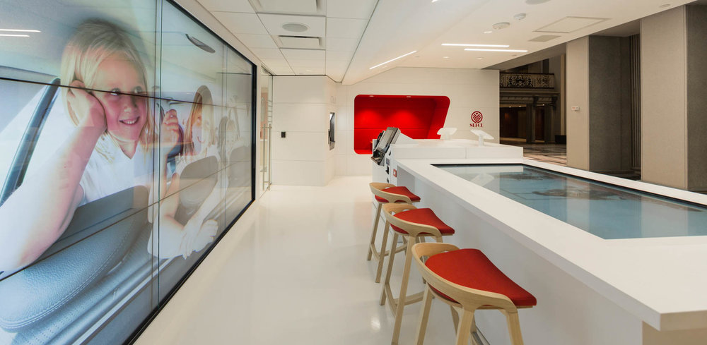 modern bank with white interior