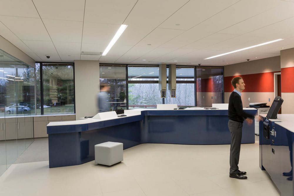Modern interior of bank with customers