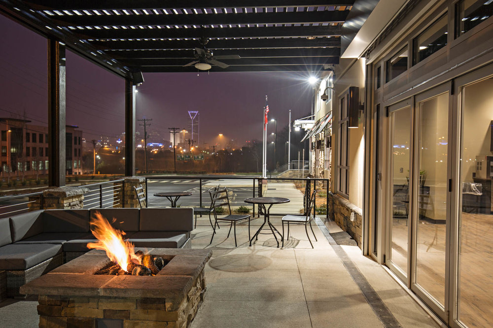 Shooting range exterior patio with firepit