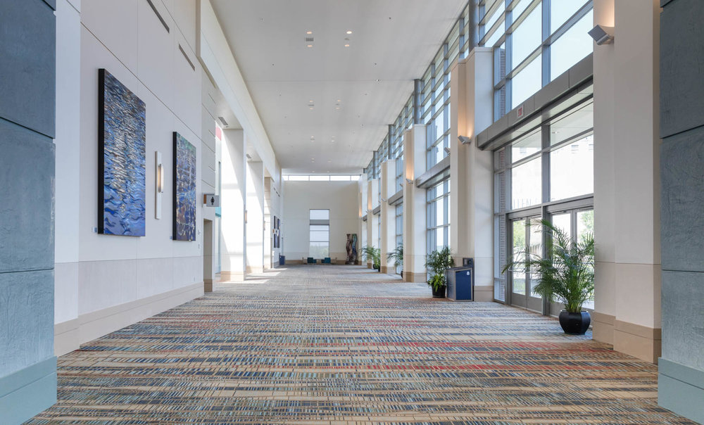 Hallway with artwork at convention center