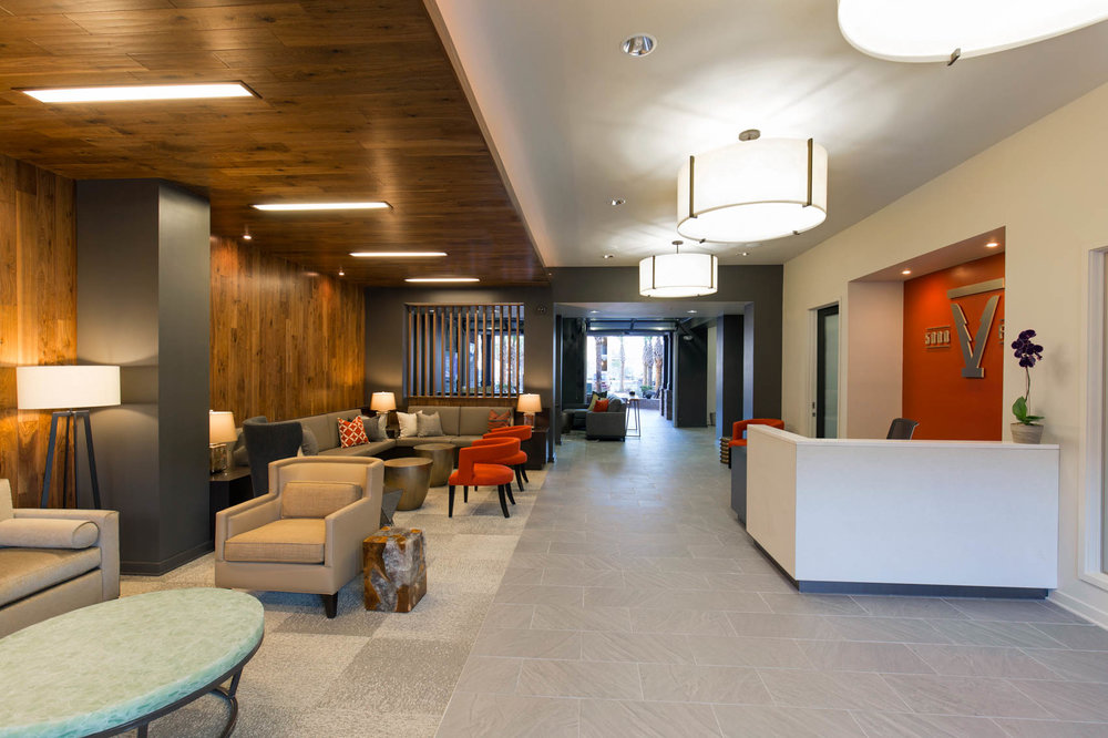 interior lobby of residential apartment community