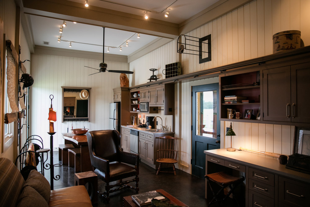 Vintage horse barn guest house interior
