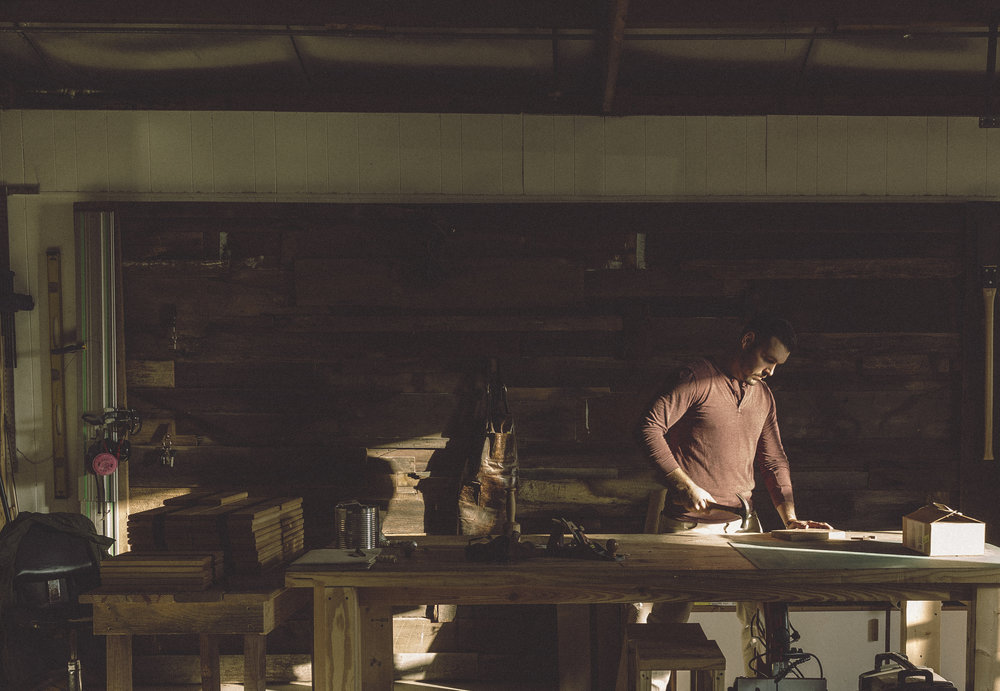 Artisan woodworker in workshop