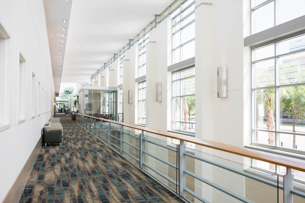Convention center hallway with overlook