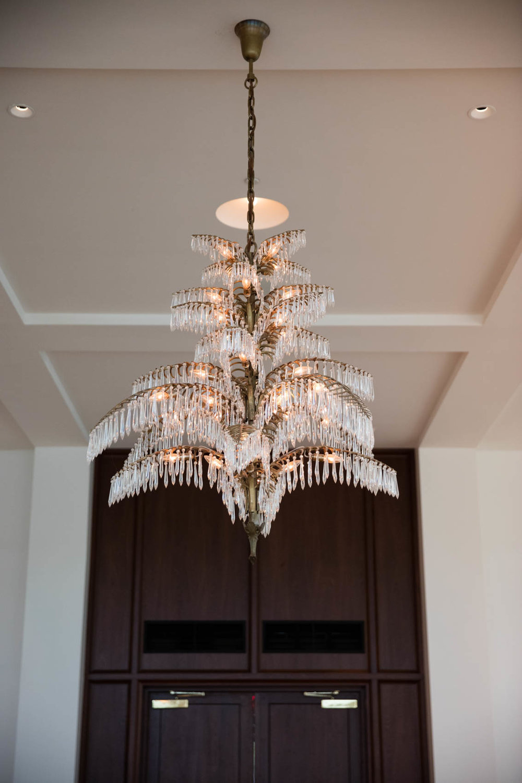 Mid century modern chandelier in hotel lobby