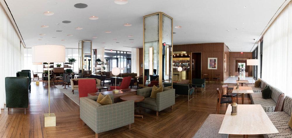 Mid century modern hotel lobby